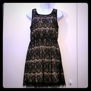 Little black lace dress with cinched waist